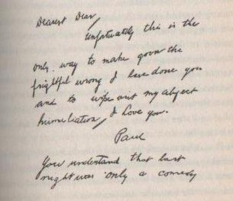 "Paul Bern - Note signed ""Paul"" discovered by police after his death, viewed by authorities as a suicide note"