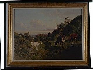 Paysage avec chèvres et vaches