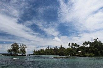 James Kealoha Beach - Peiwe Island (left) at 4-Mile Beach, Hilo