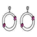 838298720a38 Pendientes realizados en plata negra con circonitas blancas y grandes  cristales en tono rubí