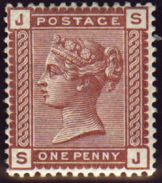 Penny Venetian Red - Note the corner letters (JS), which identify the stamp's position on the printing plate