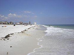 "Pensacola Beach, part of the ""Emerald Coast""."