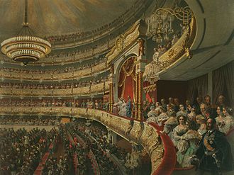 Box (theatre) - An 1856 interior view of the Bolshoi Theatre in Moscow, showing the imperial box