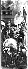 Die Könige Clothar und Dagobert disputieren mit einem Herold des Kaisers Mauritius (Kopie nach)