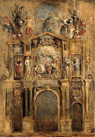 Проект триумфальной арки Фердинанда Австрийского. 1634, масло по дереву, 104×72,5см. Государственный Эрмитаж