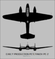 Petlyakov Pe-2 (early production) two-view silhouette.png