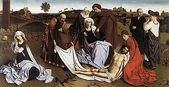 Petrus Christus - Lamentation, c. 1455–60. Royal Museums of Fine Arts of Belgium, Brussels