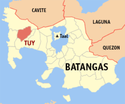 Map of Batangas showing the location of Tuy.