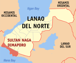 Map of Lanao del Norte with Sultan Naga Dimaporo highlighted