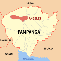 Map of Pampanga showing the location of Angeles