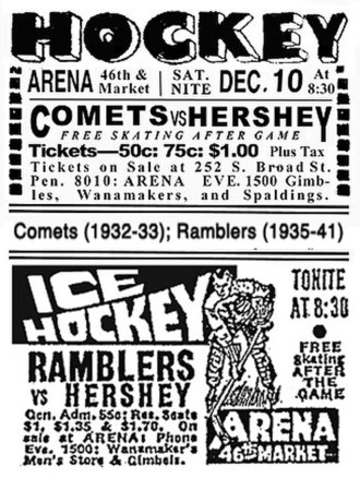 Philadelphia Arena - Display ads for pro hockey at the Arena (1932–41)