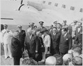 Photograph of the President and Mrs. Truman greeting President Eurico Dutra of Brazil at the airport in Washington... - NARA - 200120.tif