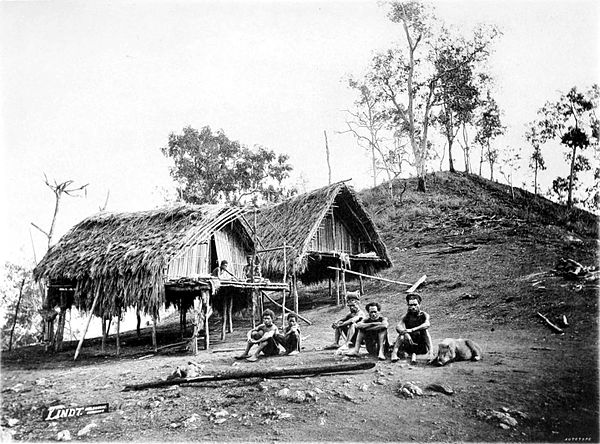 Black and white photograph of a group of crouching men and a pig, in front of two huts.