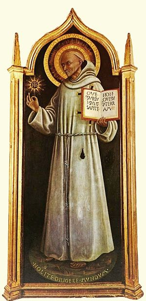 Bernardino of Siena - An early painting of St Bernardino, c. 1444, by Pietro di Giovanni d'Ambrogio.