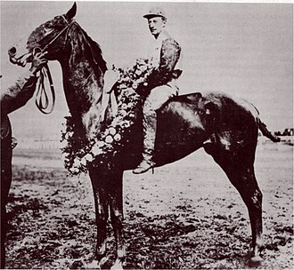 1907 Kentucky Derby - Pink Star and jockey Andy Minder after their win in the 1907 Kentucky Derby.
