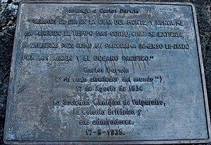 Cerro La Campana - The plaque commemorating the visit by Charles Darwin