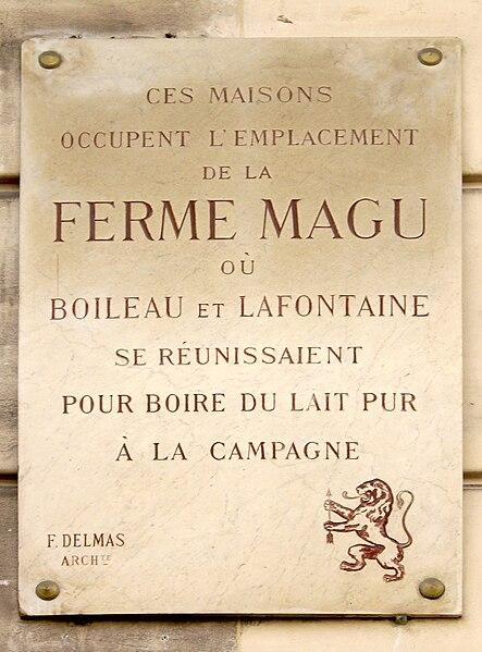 Fichier:Plaque Ferme Magu, 9 place de Mexico, Paris 16.jpg