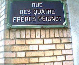"""Georges Peignot - Street sign for """"rue des Quatre-Frères-Peignot"""", in Paris (XVth arrondissement)"""