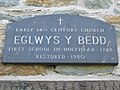 Plaque on Eglwys y Bedd - geograph.org.uk - 386548.jpg
