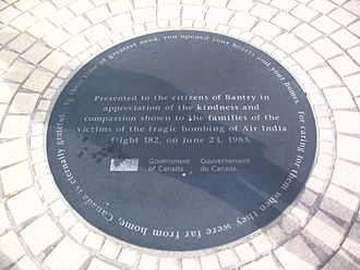 Bantry - A commemorative plaque, presented to the citizens of Bantry by the Canadian Government for their kindness and compassion to the families of the victims of Air India Flight 182.