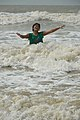 Playful Girl with Sea Waves - New Digha Beach - East Midnapore 2015-05-03 9742.JPG
