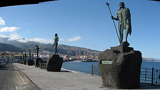 Candelaria, Tenerife - Statues of the guanches in the Plaza de la Patrona de Canarias