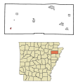 Poinsett County Arkansas Incorporated and Unincorporated areas Fisher Highlighted.svg