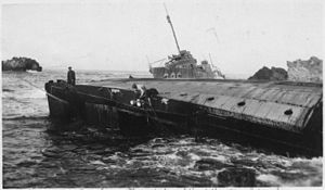 Honda Point disaster - USS Woodbury on beach