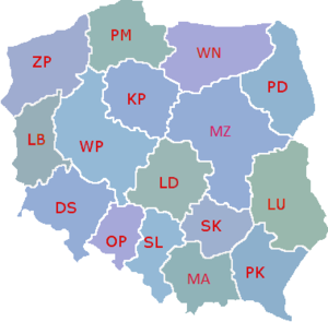 Voivodeships of Poland - Map of Polish voivodeships since 1999 (abbreviations)