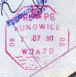 Kunowice - Polish passport stamp, 1990