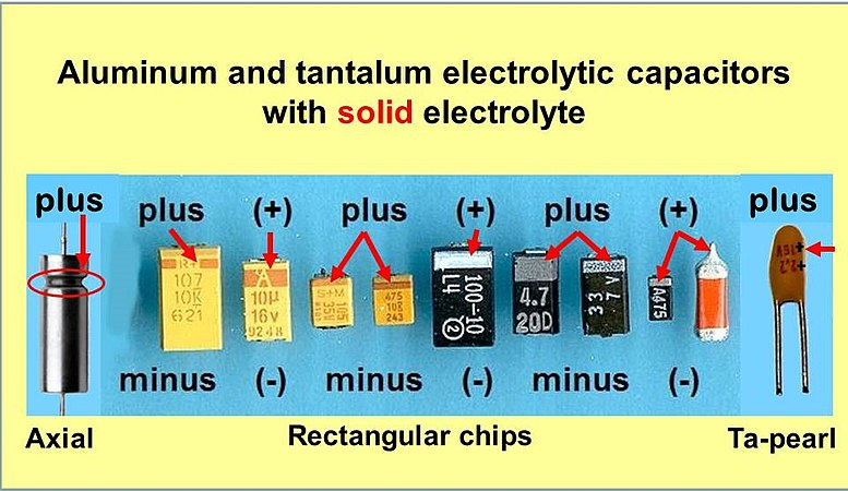 tantalum electrolytic capacitor A tantalum electrolytic capacitor, an individual from the group of electrolytic capacitors, is a polarized capacitor whose anode terminal (+) is made of tantalum on which a thin protecting oxide layer is formed and this acts as the dielectric of the capacitor.