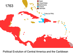 Territorial Evolution Of The Caribbean Wikipedia - West indies central america 1763