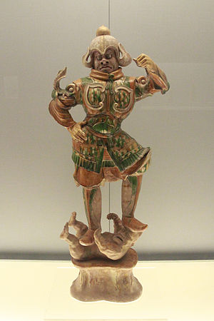 Ceramic glaze - Sancai lead-glazed figure of heavenly guardian, T'ang dynasty