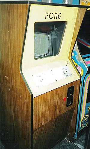 An original Atari Pong video game console on d...