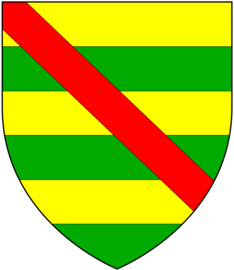 Michael de Poynings, 1st Baron Poynings - Arms of Poynings: Barry of six or and vert a bend gules. Subsequently quartered by Percy