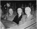 President Harry S. Truman, Secretary of State James Byrnes, and Ambassador to Belgium Charles Sawyer in car ride... - NARA - 198758.tif