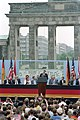 President Ronald Reagan making his Berlin Wall speech at Brandenburg Gate in West Berlin.jpg