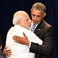 Prime Minister Narendra Modi hugging US President Barack Obama.jpg