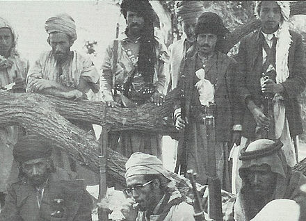 Prince Abdullah Hussein (below, center) with his men soon after the Egyptian air attack in Wadi Hirran, December 1962 Prince Abdullah Hussein.jpg