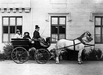 Princesses Louise and Beatrice riding with their mother Princess Louise Caroline Alberta, Duchess of Argyll, Princess Beatrice of Battenberg and Queen Victoria driving by Henry Joseph Whitlock.jpg