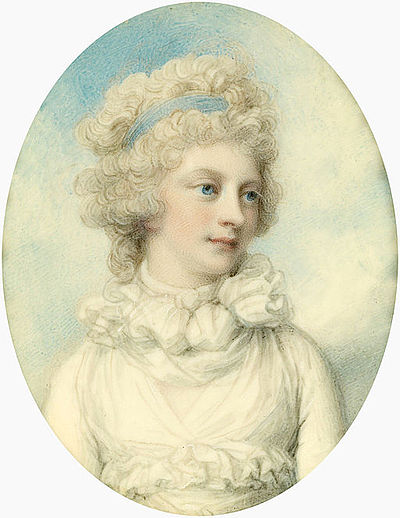 Princess Sophia, c. 1792. This portrait miniature, painted by Richard Cosway, is believed to have been commissioned by Sophia's brother the Prince of Wales. Princess Sophia portrait.jpg