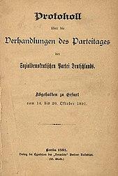Omslagsark för Erfurt -programmet