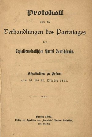 Free Association of German Trade Unions - Cover of the Erfurt Program