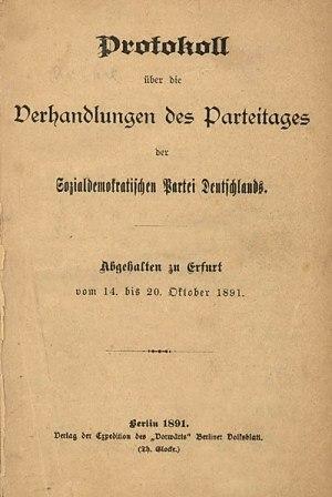 Protokoll des Parteitages der SPD in Erfurt (14. bis 20. Oktober 1891)