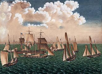Prize (law) - The American vessel Betsey under attack by a swarm of seven French corsairs, in 1797
