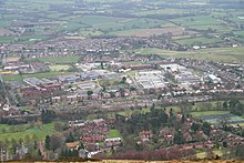 Photo QinetiQ from Malvern Hills. Malvern College in foreground, village of Poolbrook in background