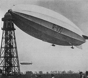 R100 - R100 at Cardington, April 1930. The airship in the background is the Graf Zeppelin