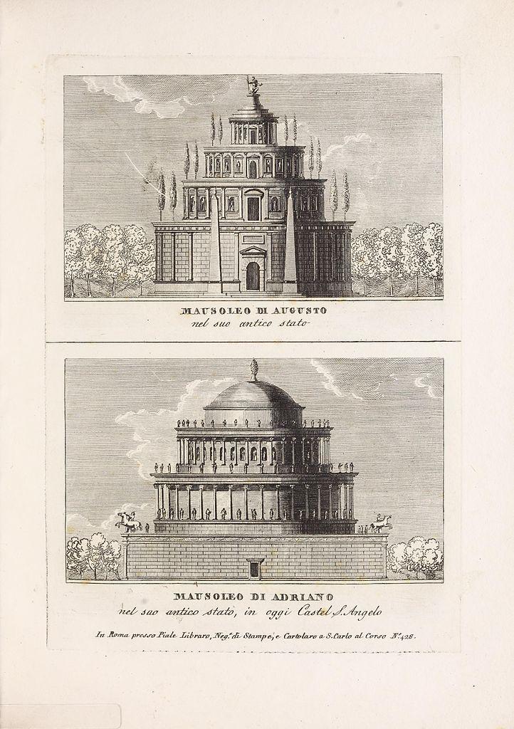 Illustrations des mausolées d'Hadrien et d'Auguste à Rome pendant l'antiquité.