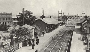 Hamilton railway station, New South Wales - View looking west in 1906