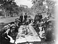 Railway refreshment room staff picnicing at Mungabareena - Mungabareena, NSW, 1901 by an unknown photographer (39623160051).jpg